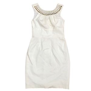 Trina turk round neck cream dress